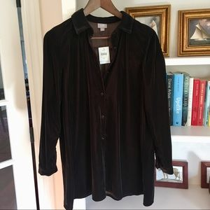 NWT J JILL Velour Velvet Button Down Tunic - sz XS
